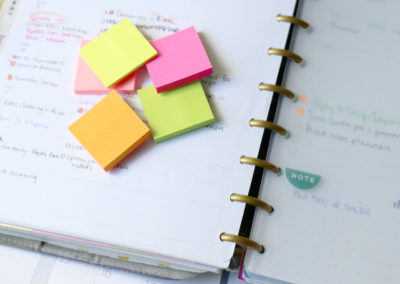 Post-its can be used to mark product launches or market days