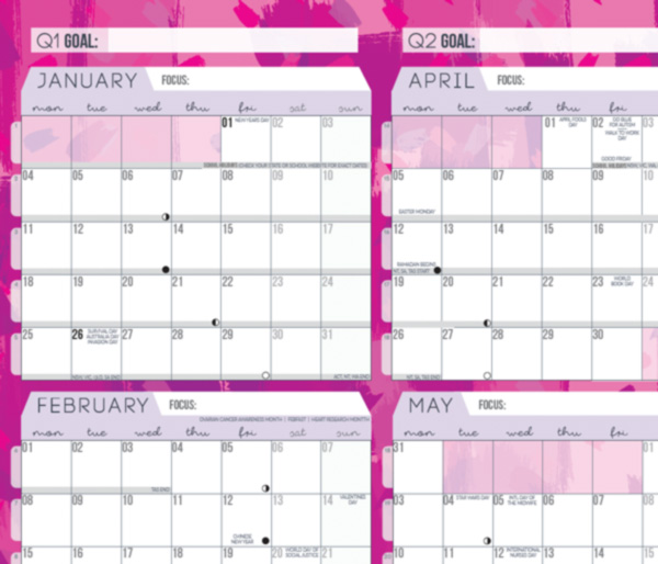 pink wall planner