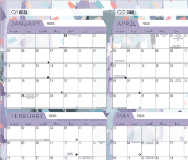 Purple wall planner
