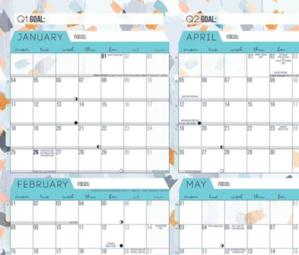 Teal wall planner